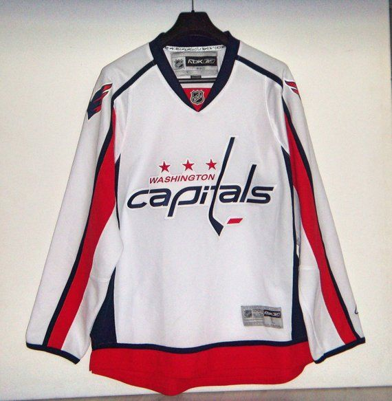 Washington Capitals NHL Hockey Reebok CCM Jersey White Away Size Large  Grande 15f4daf50