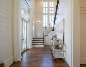 """Tongue and Groove Paneling. Paneling is an 8"""" tongue and groove with square grooves. Foyer Tongue and groove Paneling painted in a off white paint color. Tongue and groove Paneling. Foyer tongue and groove Paneling #FoyertongueandgroovePaneling #Foyer #tongueandgroove #Paneling #Foyertongueandgroove #Shiplaptongueandgroove #Paneling foyer-shiplap-paneling Geoff Chick & Associates"""