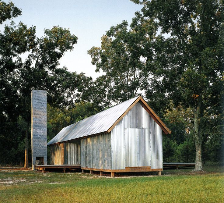 Atkinson Architecture. Zachary House in Ramseur, North Carolina, basic material: concrete bricks, pressure-treated wood, pecan trees, and galvanized, corrugated steel.