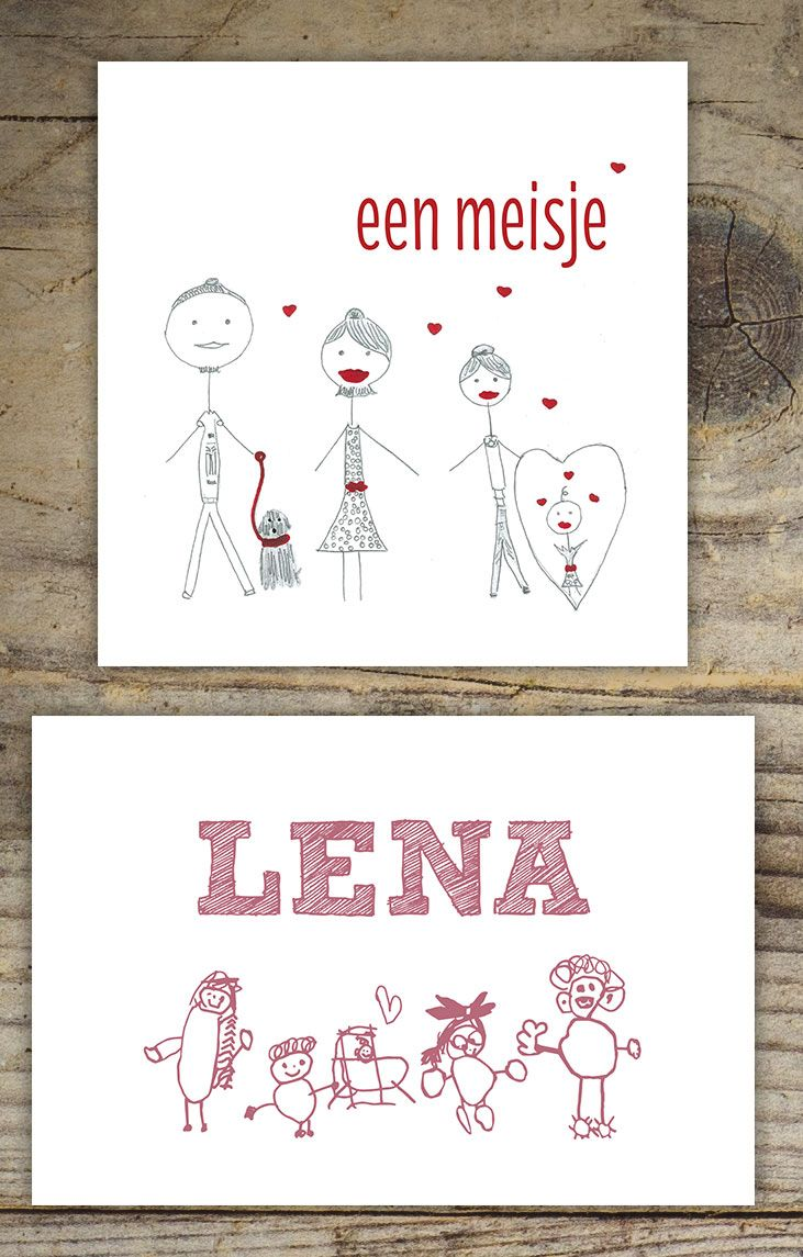 Een geboortekaartje met een tekening van de grote broer of zus, super leuk! Kijk voor meer informatie op www.studioapril.nl