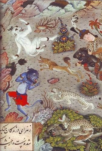 blue demon. Persian Paintings - Five Royal Safavid Manuscripts of the 16th Century by Stuart Cary Welch