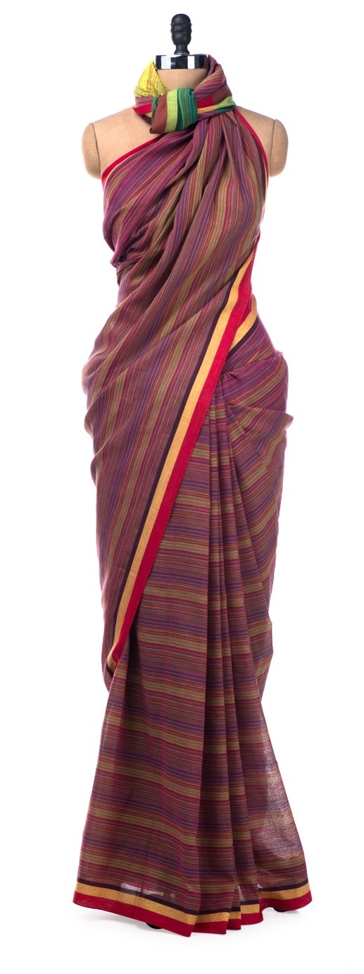 This season Desiweaves brings you a delightful range of striped cotton handloom sarees with a colour block theme.