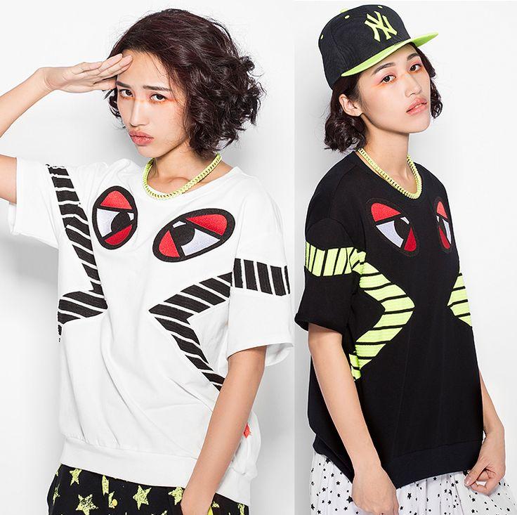 2015 Summer Style Black/White/Green Women T Shirt Cartoon Big Eyes T-shirt Women Tops Casual Shirt