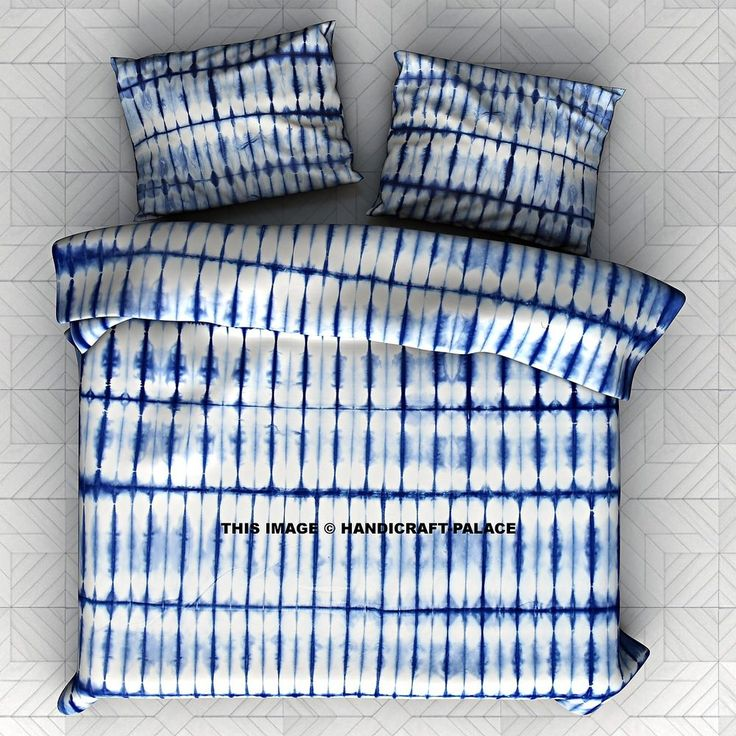 Item - 1 Pc Tie & Dye Shibori Bedspread With 2 Pc Pillow Cover. Beautiful Indian Screen Printed Cotton Tie & Dye Shibori Tapestry or Bed Cover in Queen size With Pillow Cover. The fabric has White Dyed washed and on top of the Tie & Dye Shibori Design was screen printed in sharp color. | eBay!