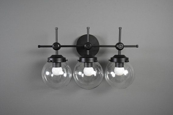 Wall Sconce Matte Black 3 Globe Modern Abstract Mid Century With Images Modern Black Wall Sconces Sconces Industrial Wall Lights
