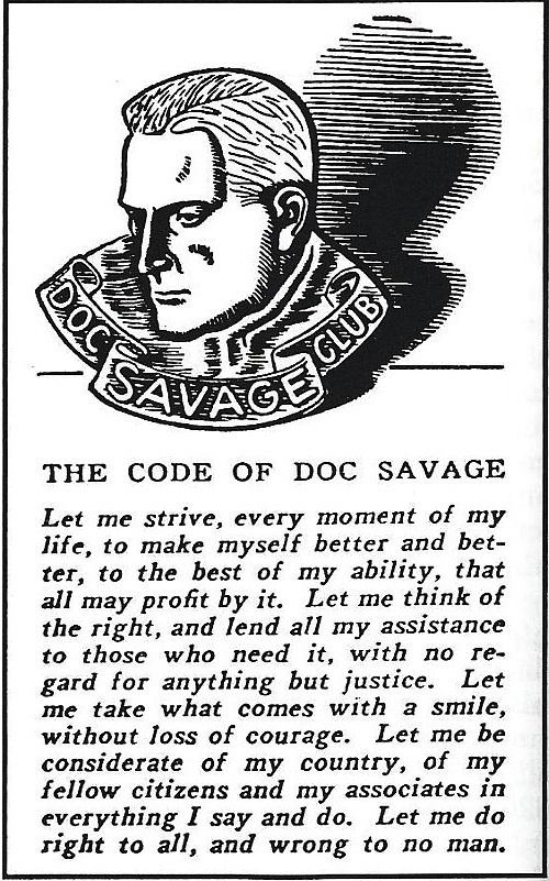 86 best doc savage artwork primarily images on pinterest pulp the code of doc savage we all would do well to adopt it fandeluxe Gallery