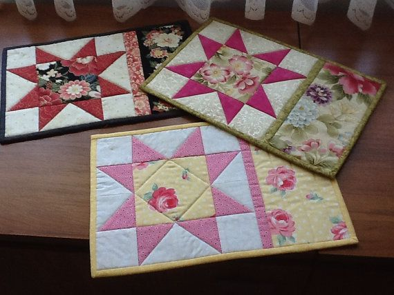 Mug rug snack mat placemat pattern SAWTOOTH by AnniesQuiltCraft
