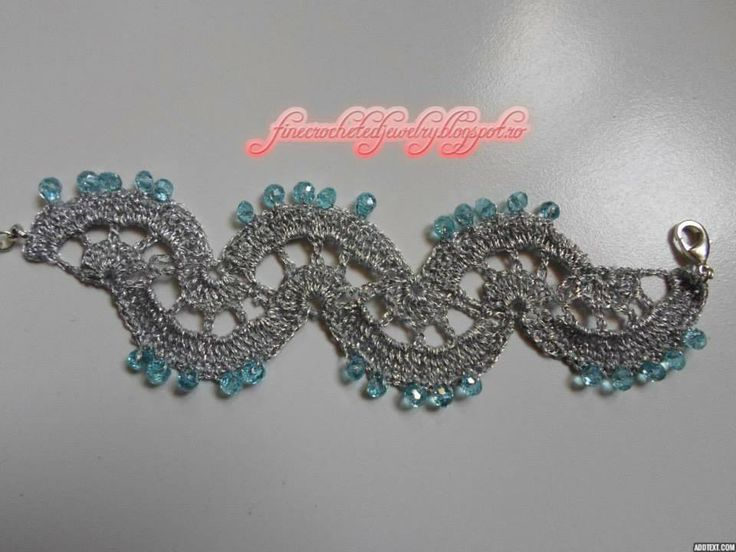 Crochet silvery bracelet with crystals