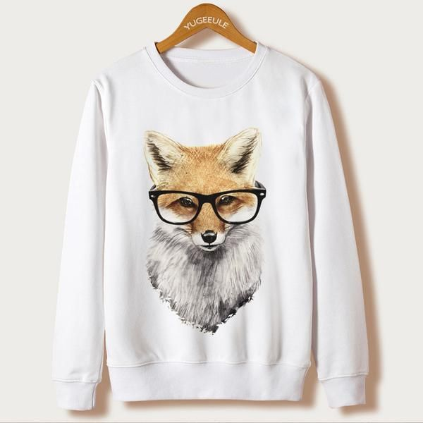 #BestPrice #Fashion Fox Harajuku Sweatshirt Women Pullover 2017 Casual Animal Print White Hoodies Full Sleeve O-neck Women Clothing Casual…