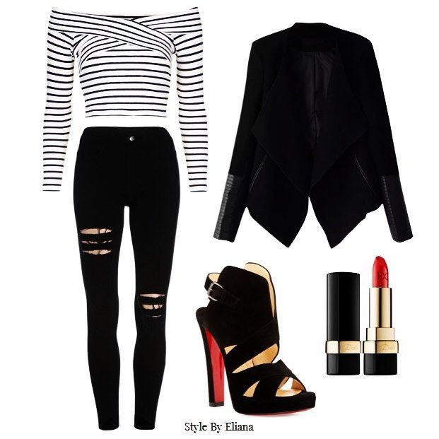 Friday Look of the Week  Going out evening rock chic look. The jacket with touches of leather just gives enough of that rock chic impression. Ripped jeans and to die for heals! Last but not least hot red lipstick.  #stylebyeliana #womenfashion #lookoftheweek #rock #chic #fashion #women #outfit #outfitoftheday