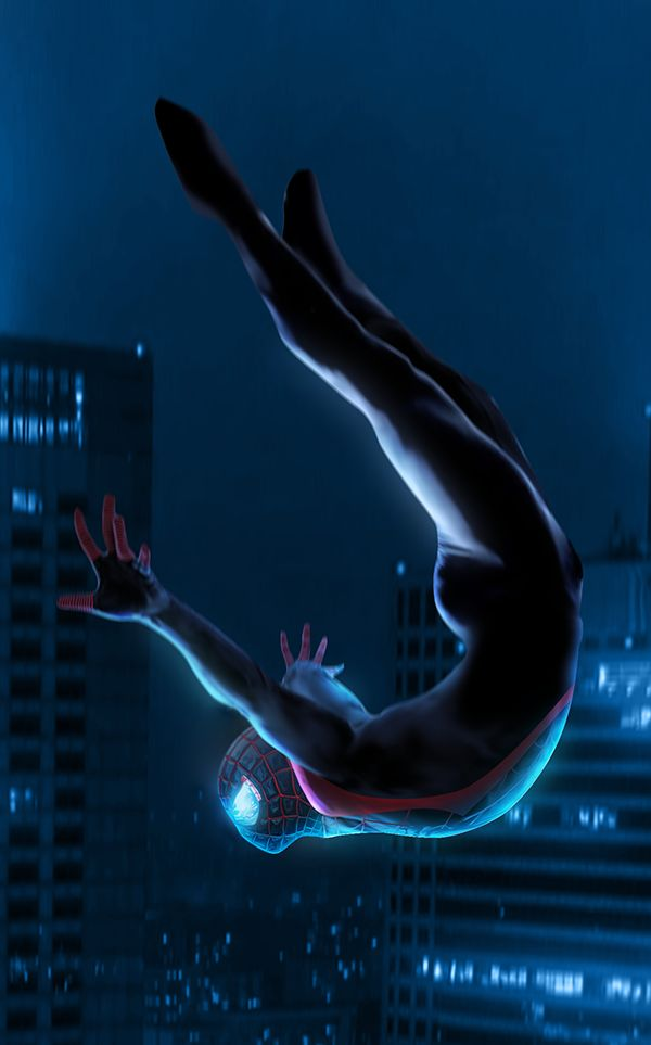 I added the mask to the Spider-Man (Miles Morales) i made months ago // Daily @adobe @Photoshop Practice