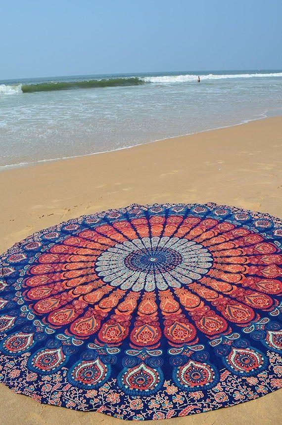 Cotton Tree Tie Dye Table Cloth Blanket Round Roundie Beach Blanket Beach Hippie Mandala Bohemian Tapestry Boho Picnic Yoga Mat Beach