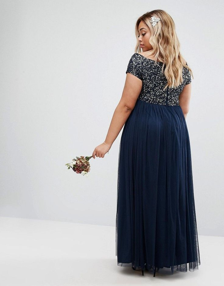 Maya Plus Bardot Maxi Dress With Delicate Sequin And Tulle Skirt - Nav