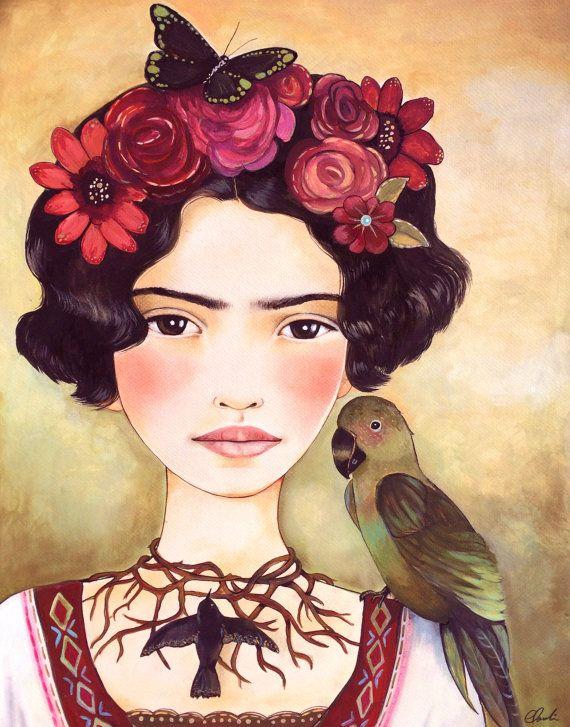 Frida joven arte grabado