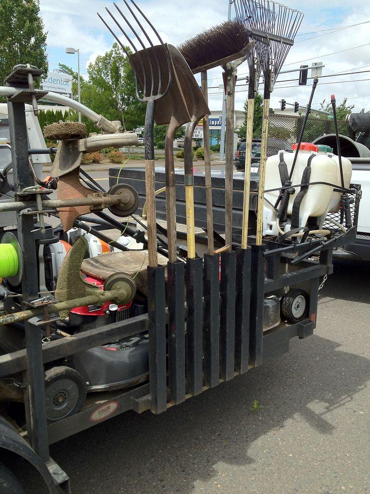 rake and shovel storage on trailer Lawn trailer, Lawn