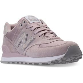 New Balance Women's 574 Shattered Pearl Casual Sneakers from Finish... ($64) ❤ liked on Polyvore featuring shoes, sneakers, pearl shoes, synthetic shoes, retro style shoes, retro sneakers and new balance trainers