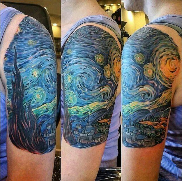 A stunning Van Gogh arm painting.