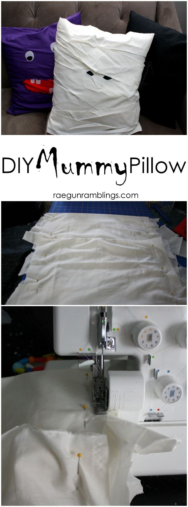 Mummy pillow case just 15 minutes and 1 yard of fabric tutorial from  Rae Gun Ramblings