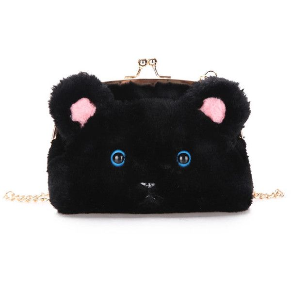 11d1bbb7c3f2 SheIn(sheinside) Faux Fur Cat Design Kiss Lock Chain Bag ( 11) ❤ liked on  Polyvore featuring bags