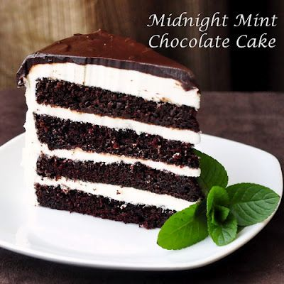Midnight Mint Chocolate Cake - Easy enough for even beginner bakers; creamy-cool mint frosting with chocolate mint ganache on a moist rich chocolate scratch cake.