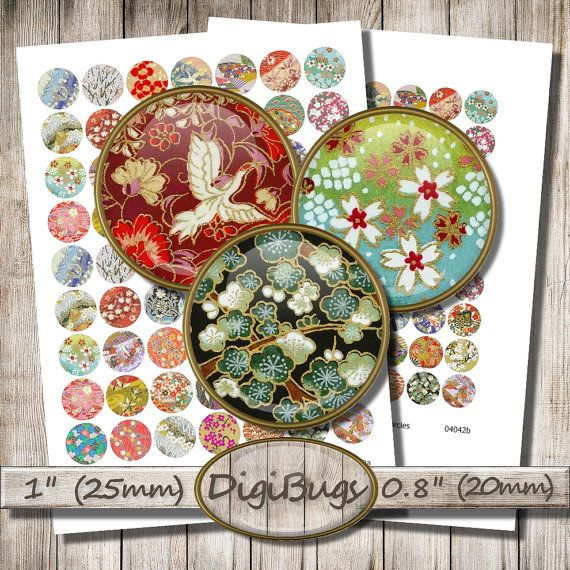 Printable Origami Images, Digital Collage Sheet, 1 inch Circles, 20 mm, 25 mm, Japanese Washi Paper, Chiyogami Rounds, Digital Download, d1