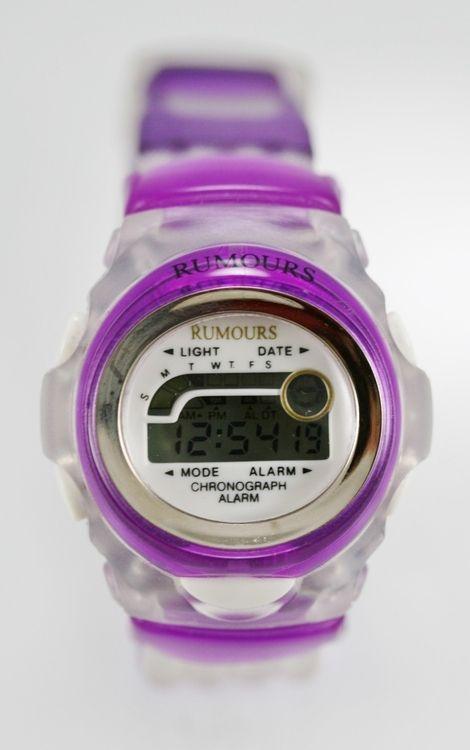 Rumours Watch Women/Youth White Purple Plastic 24hr Light Date Alarm Stop Quartz