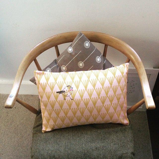 Chair and new cushion. #Vanil #cushion #Ercol #StJudes #vintage #midcentury @__vanil__ @stjudes #home #restored