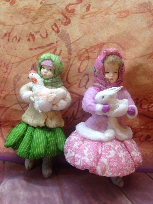 Коллекционные куклы ручной работы. Ватные игрушки, набор. Винтажные игрушки (Елена). Интернет-магазин Ярмарка Мастеров. елочные игрушки