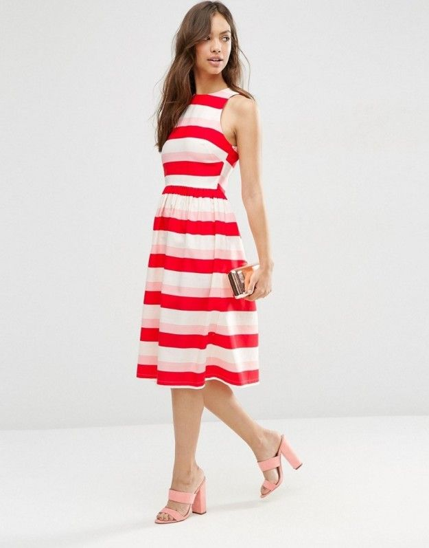 A midi dress that proves red and pink look awesome together.