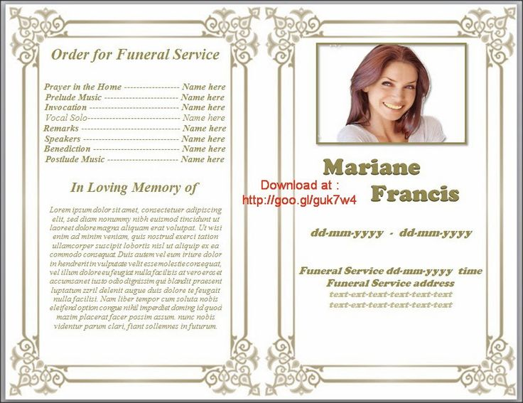 Memorial Phlet Template Free Images Best Images Of - Free memorial card template word