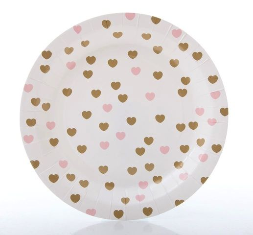 Gold & pink sweetheart party plates.