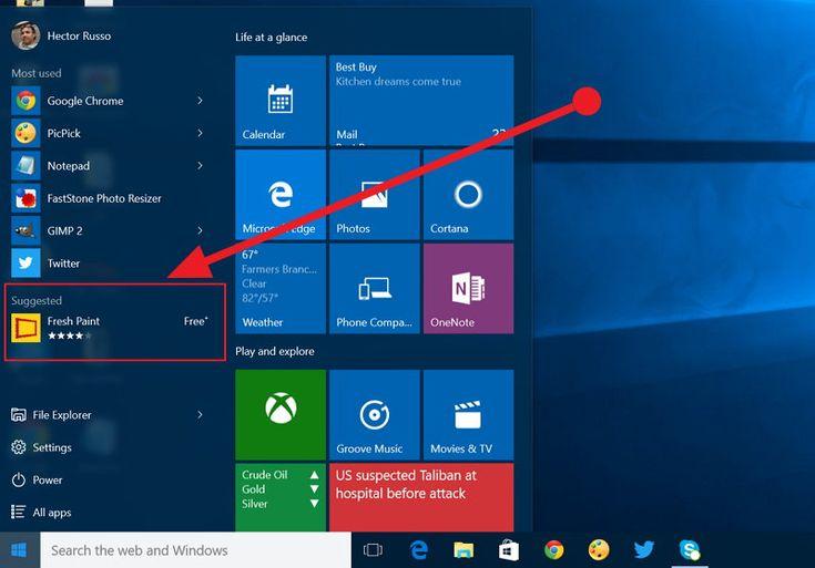 Microsoft comenzó a probar ads (aplicaciones sugeridas) en el menú de inicio de Windows 10