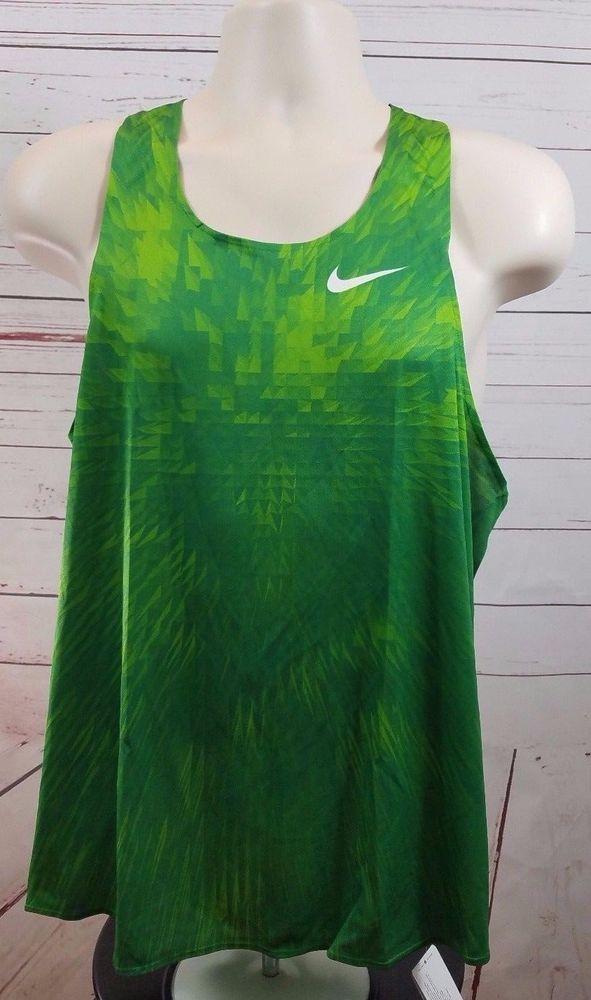 cdd7c3079 Nike Men s Large Digital Race Day Elite Running Singlet Track Green  Nike   ShirtsTops
