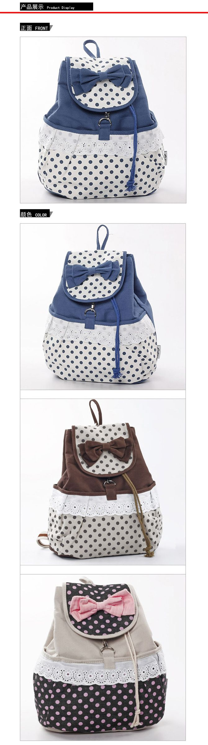 3 Colors Dots Cotton Canvas Bow Lace Backpacks | Lower price - market86.com
