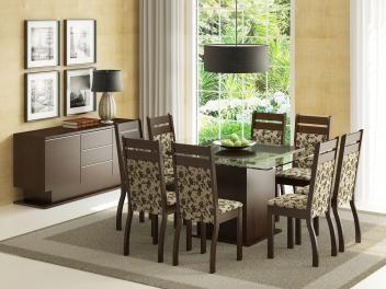 Conjunto de Mesa com 8 Cadeiras Estofadas Madesa - Louise