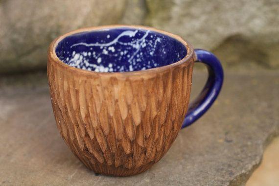 Cobalt blue mug Rustic mug Coffee mug Woodland cup Polka dot cup Dotted cup Unique mug Birthday gift Christmas gift Girlfriend gift