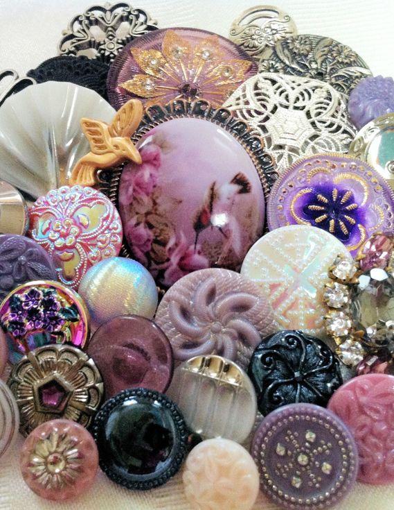 Vintage Glass, Czech Glass, Rhinestone, Porcelain & Mixed Metal Buttons.