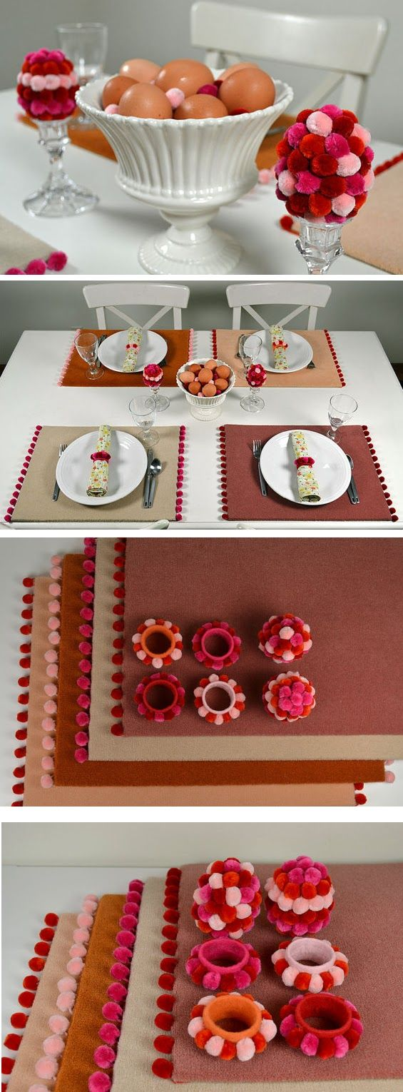 Carpet placemats, napkin rings | diy craft TUTORIALS
