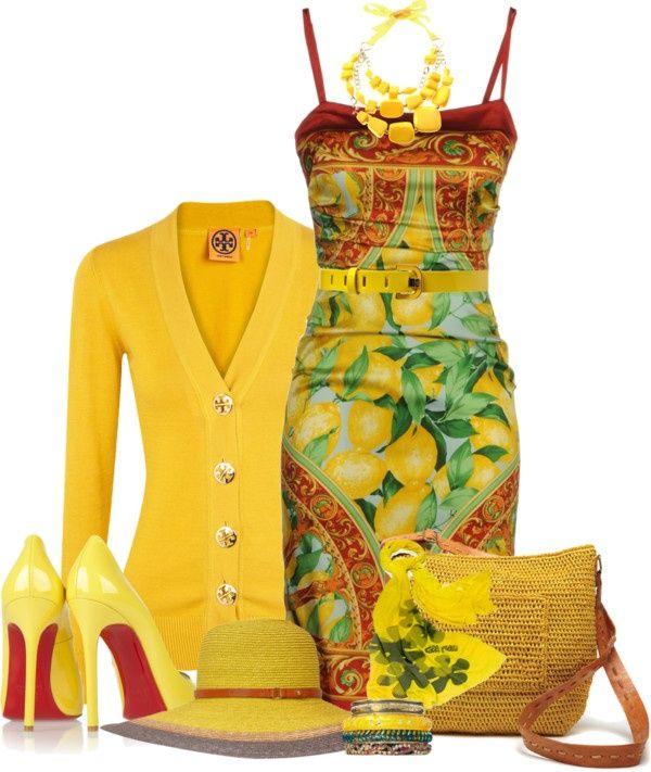 Summer apparel, ensemble in yellow