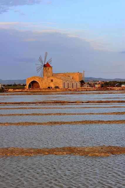 Windmill in The Salt Flats, Trapani, Sicily, Italy