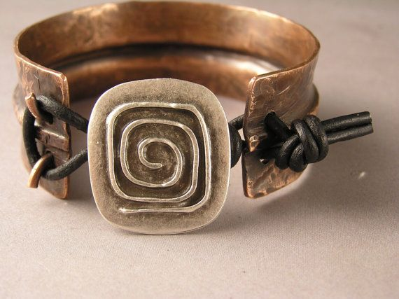 Copper Cuff Bracelet Mixed Metal Bracelet by SharonWiselyJewelry, $44.00