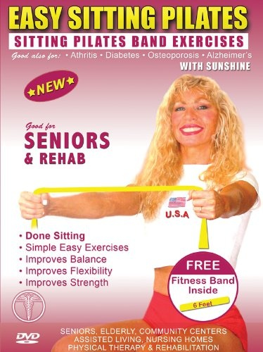 Sitting Pilates Band Exercises DVD + FREE PILATES BAND. Seniors Easy Pilates Exercises & Pilates Bands Exercise DVD for Strength & Fitness Easy SITTING Pilates Resistance Bands Exercises for Seniors, Elderly, Rehab,Good also for Over weight and Obes $8.05