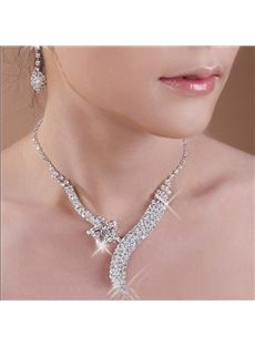 Central Coast Alloy Glorious with Rhinestone Wedding Jewelry Set(Including Necklace and Earrings)