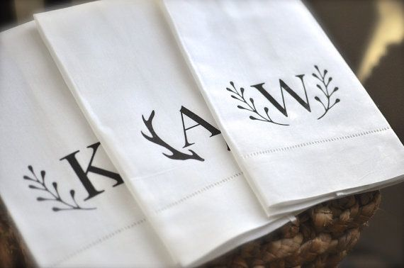 $14  LOVE Custom anything!  Personalized Tea Towels-Monogrammed Linen Guest by indigotangerine