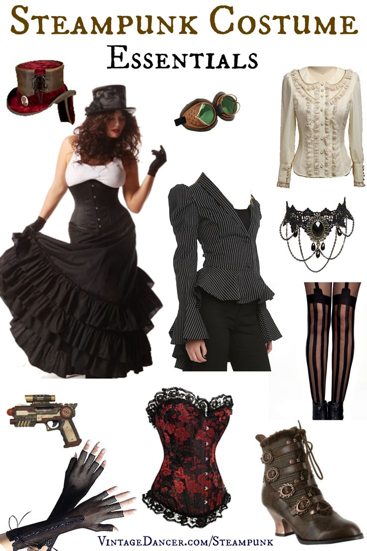 Steampunk costumes essentials for women. Skirt, blouse, vest or corset, top hat and books are just a few pieces you need. Shop them at VintageDancer com