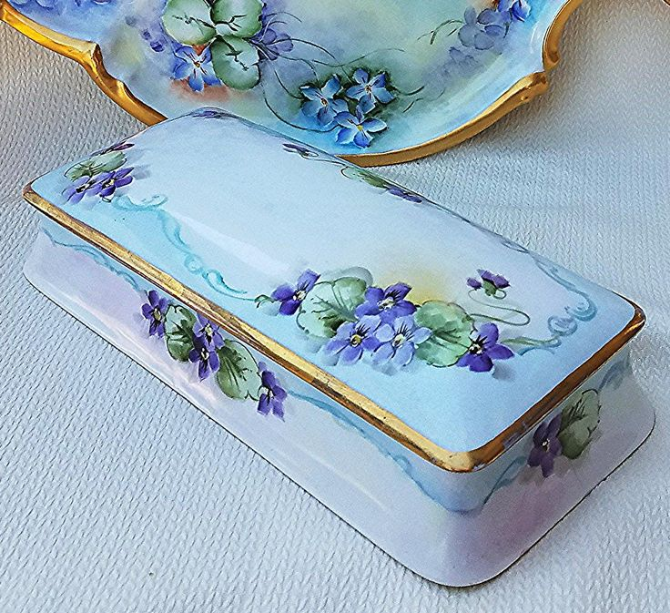 Bavaria Vintage 1900's Hand Painted Violets Large 11-3/8 Floral Glove Box  Beautifully decorated, from end to end, is this vintage large hand painted