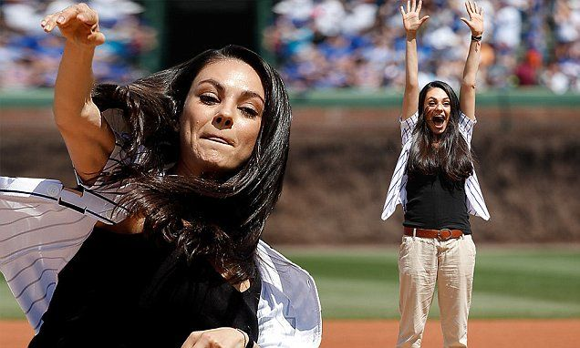 Mila Kunis looks sporty throwing the first pitch at Chicago Cubs game