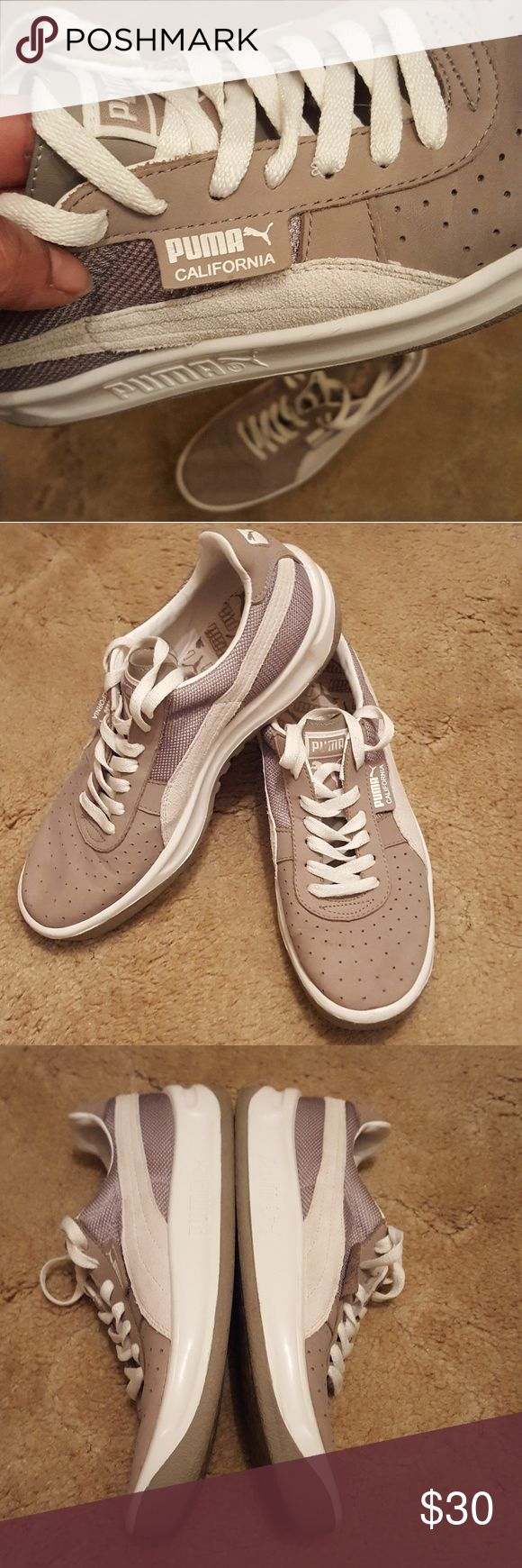 Puma California Taupe Pumas like new, there's a scuff on the toe, you can't really see it though Puma Shoes Sneakers