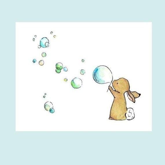 Baby's Wall Art Bunny Bubbles 5x7 Nursery Art  by trafalgarssquare, $8.00