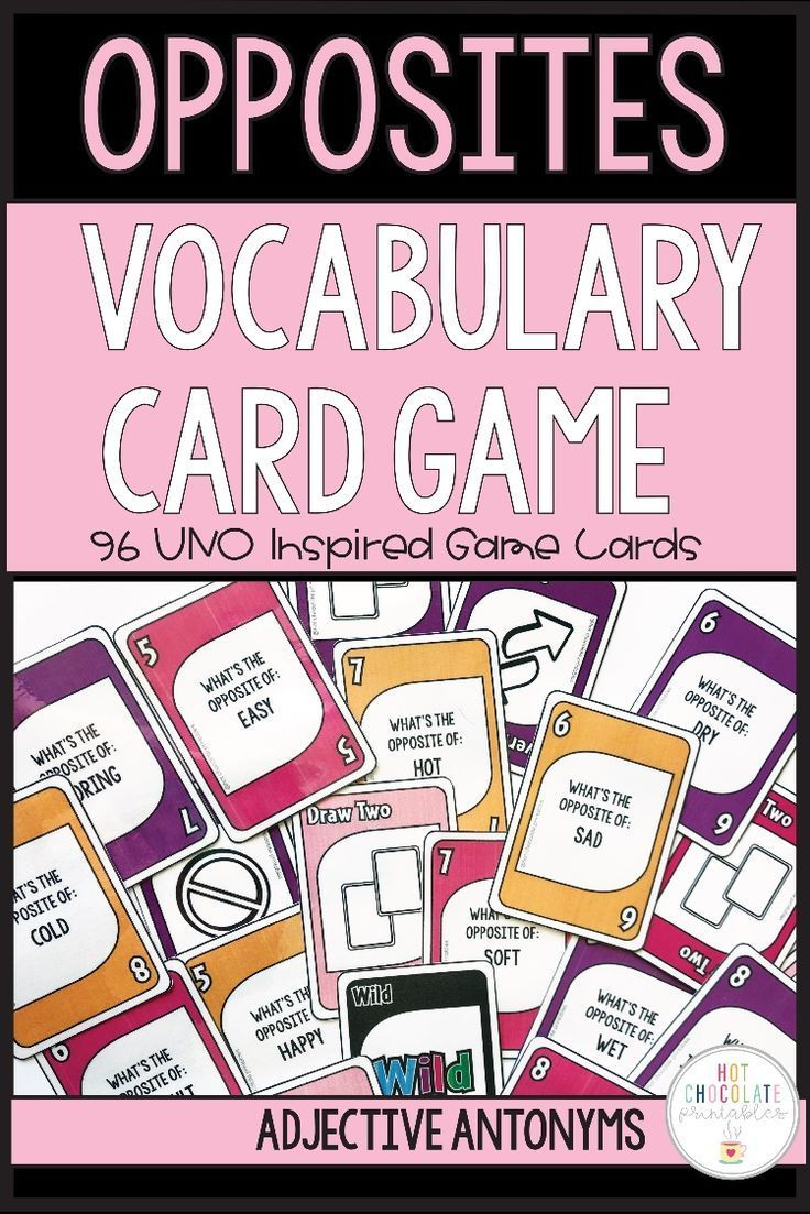 Opposites Vocabulary UNO Inspired Card Game Antonyms